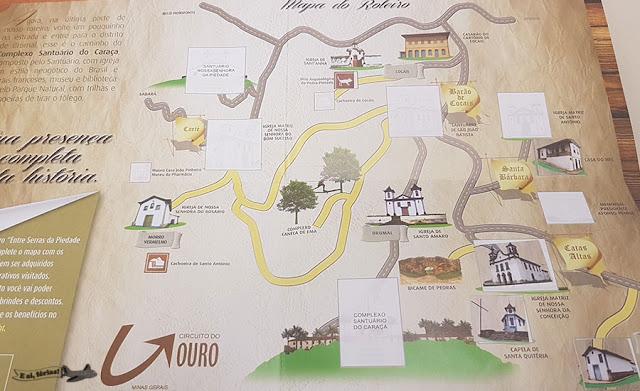 Mapa de adesivos do Entre Serras: da Piedade ao Caraça
