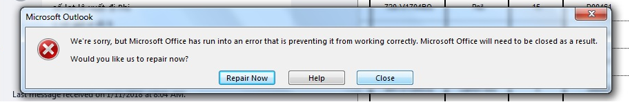 "Cách Sửa Lỗi ""We're sorry, but Microsoft Office has run into an"
