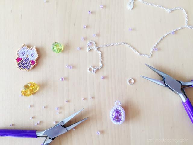 Gem stone bezel mounting on necklace