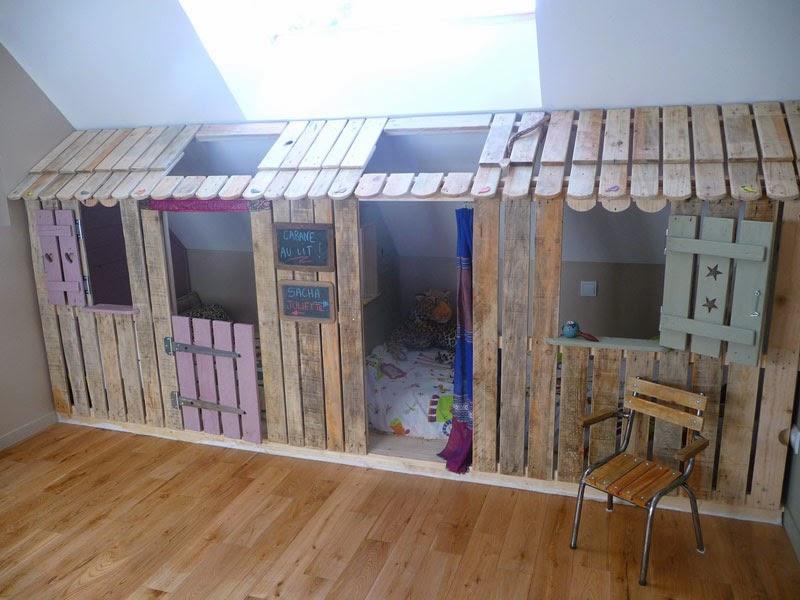 casita y habitaciones con palets para ni os. Black Bedroom Furniture Sets. Home Design Ideas