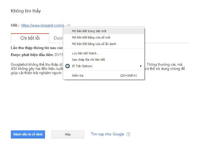Kiểm tra link bằng cách lick phải chuột vào link chọn mở trong tab mới