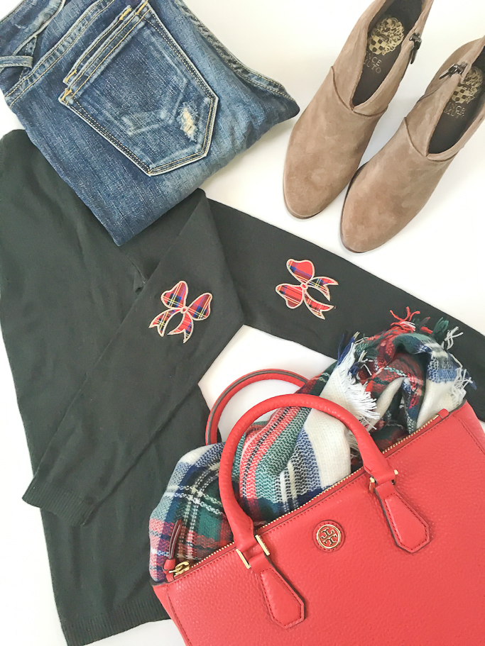 ASOS holiday sweater with plaid bow elbow patches, Tory Burch pebbled leather robinson red tote. Plaid blanket scarf with white check, Vigoss distressed dublin skinny jeans, Vince Camuto franell ankle booties