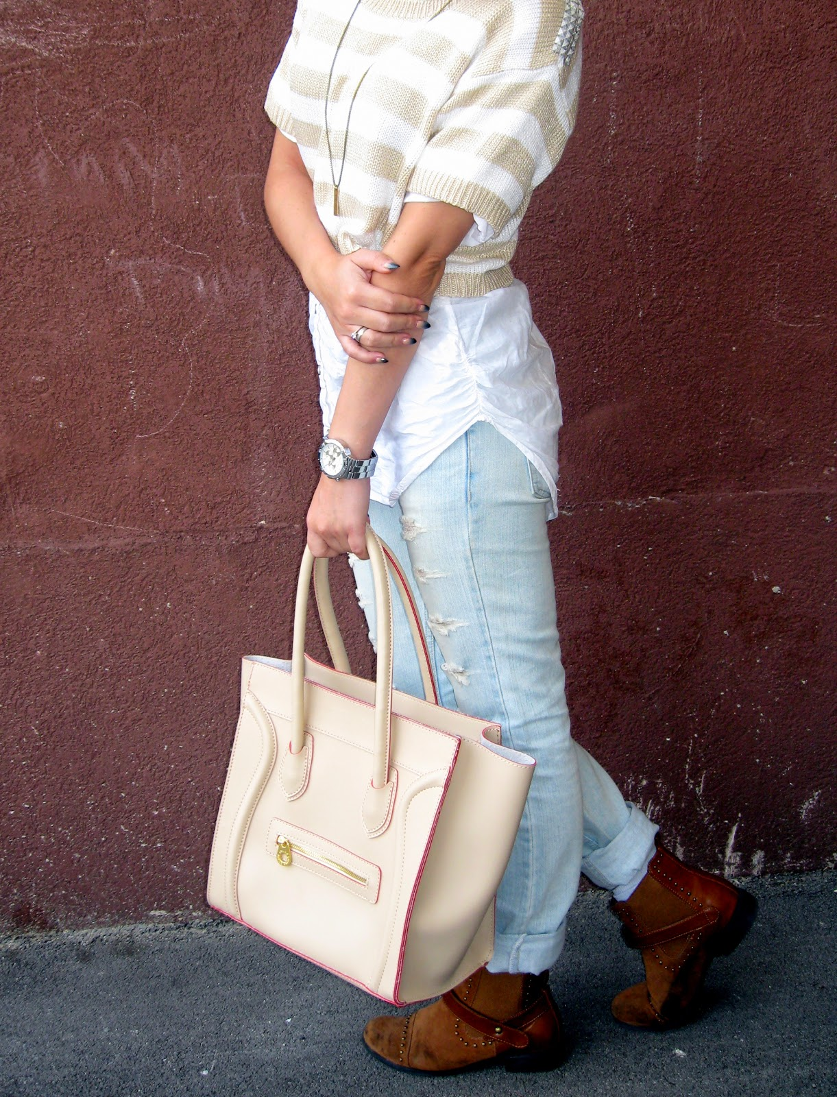 outfit, striped beige crop top, white t-shirt, ripped jeans, celine inspired knockoff beige boston tote bag, michael kors watch, flat tan boots