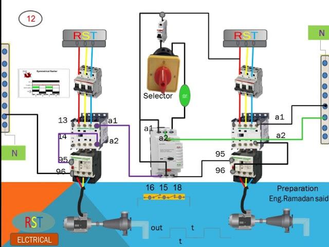 دائرة التحكم والبور لمضختين يعملان بالتبادل عن طريق timer