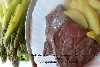 Vie quotidienne de FLaure: Rôti de bœuf accompagné d'asperges et de grenailles