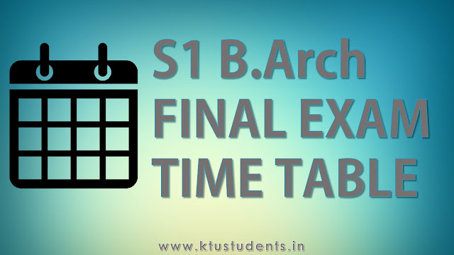 B.Arch First Semester Regular Examination, December 2016