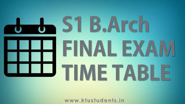 B.Arch First Semester Regular Examination, December 2016
