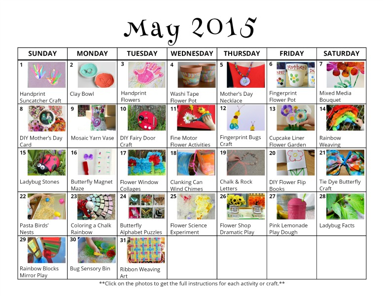 Calendar Ideas For May : May activities for kids free activity calendar and