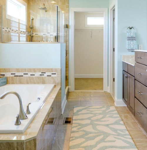 Beige Coral Rug Bathroom