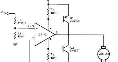 circuit diagram: Simple Operational Amplifier DC Motor Driver