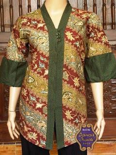 baju batik kerja wanita kombinasi polos