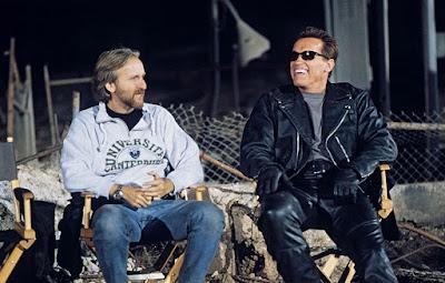 Arnold Schwarzenegger y James Cameron en el rodaje de Terminator 2