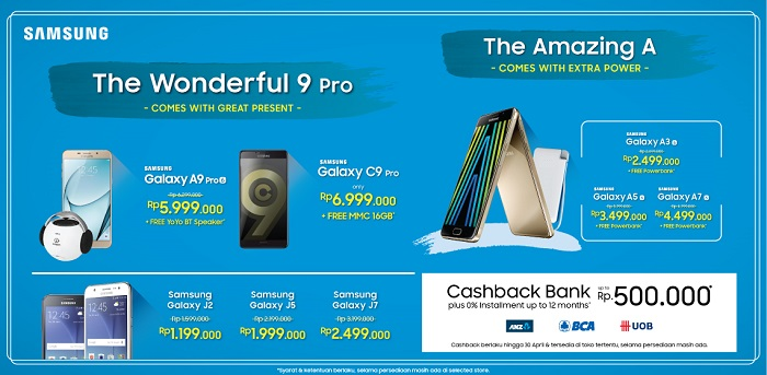 Samsung Galaxy A, C, J series Cashback Bank Up To Rp 500 Ribu + Bonus Pembelian