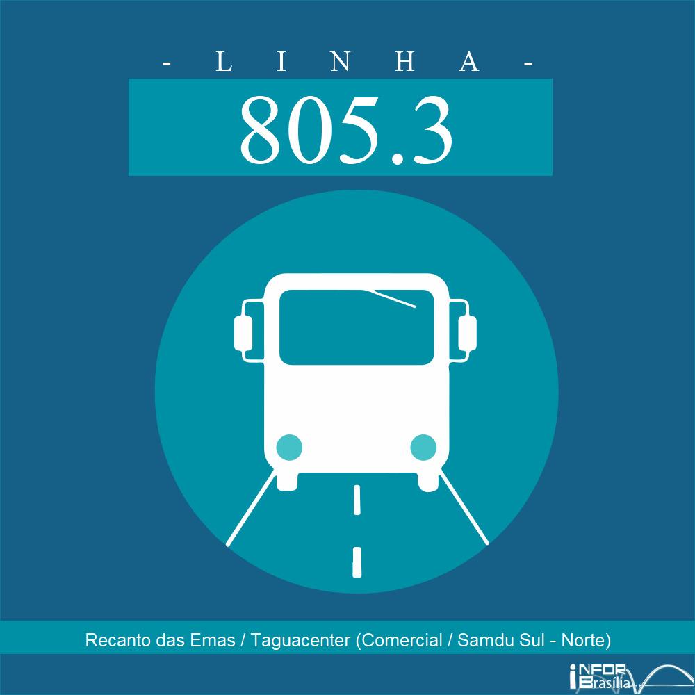 Horário de ônibus e itinerário 805.3 - Recanto das Emas / Taguacenter (Comercial / Samdu Sul - Norte)