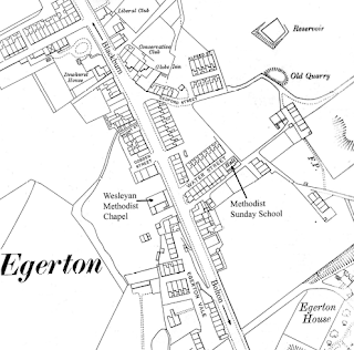 Location of the chapel and Sunday School in Egerton: 1908.