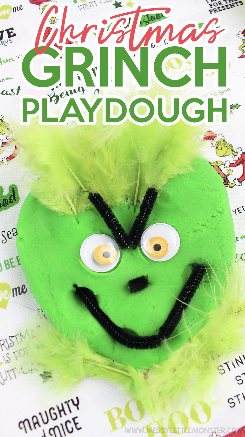 Christmas playdough recipe. Christmas Grinch playdough. Christmas Grinch activities. Christmas ideas for kids.