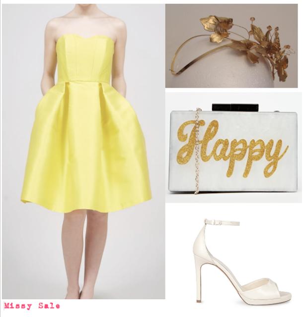 Rebajas SS 2015 inversiones fiestas y ceremonias noche (vestido corto amarillo)