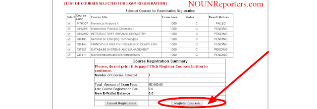 Click Register Courses to finish your Examination Registration processes