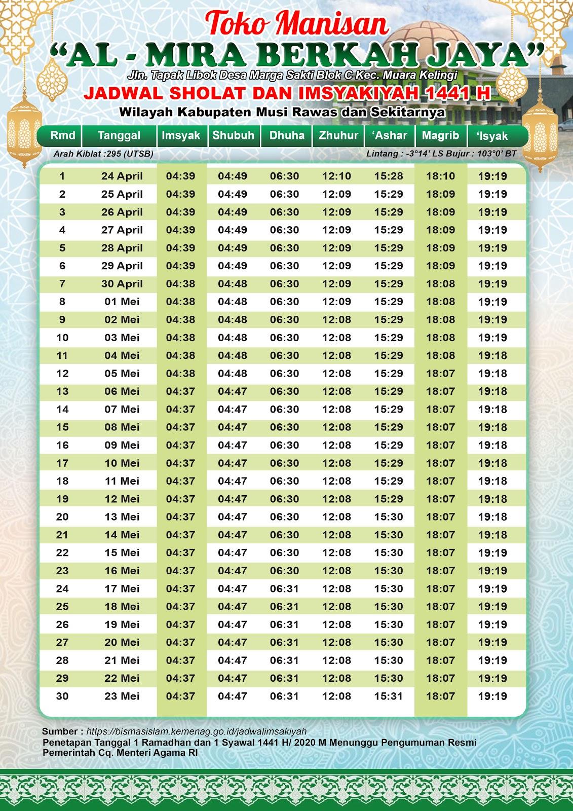 Jadwal Imsakiyah 1441 H Wilayah Musi Rawas