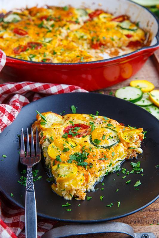 Corn and Zucchini Cheddar and Tomato Quiche