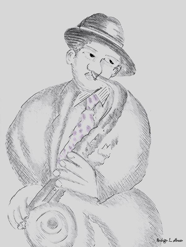 Músico con sombrero tocando el saxo. Ilustración de Rodrigo L. Alonso