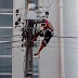 Video: Man gets electrocuted after climbing an electric pole to entertain people at a political rally