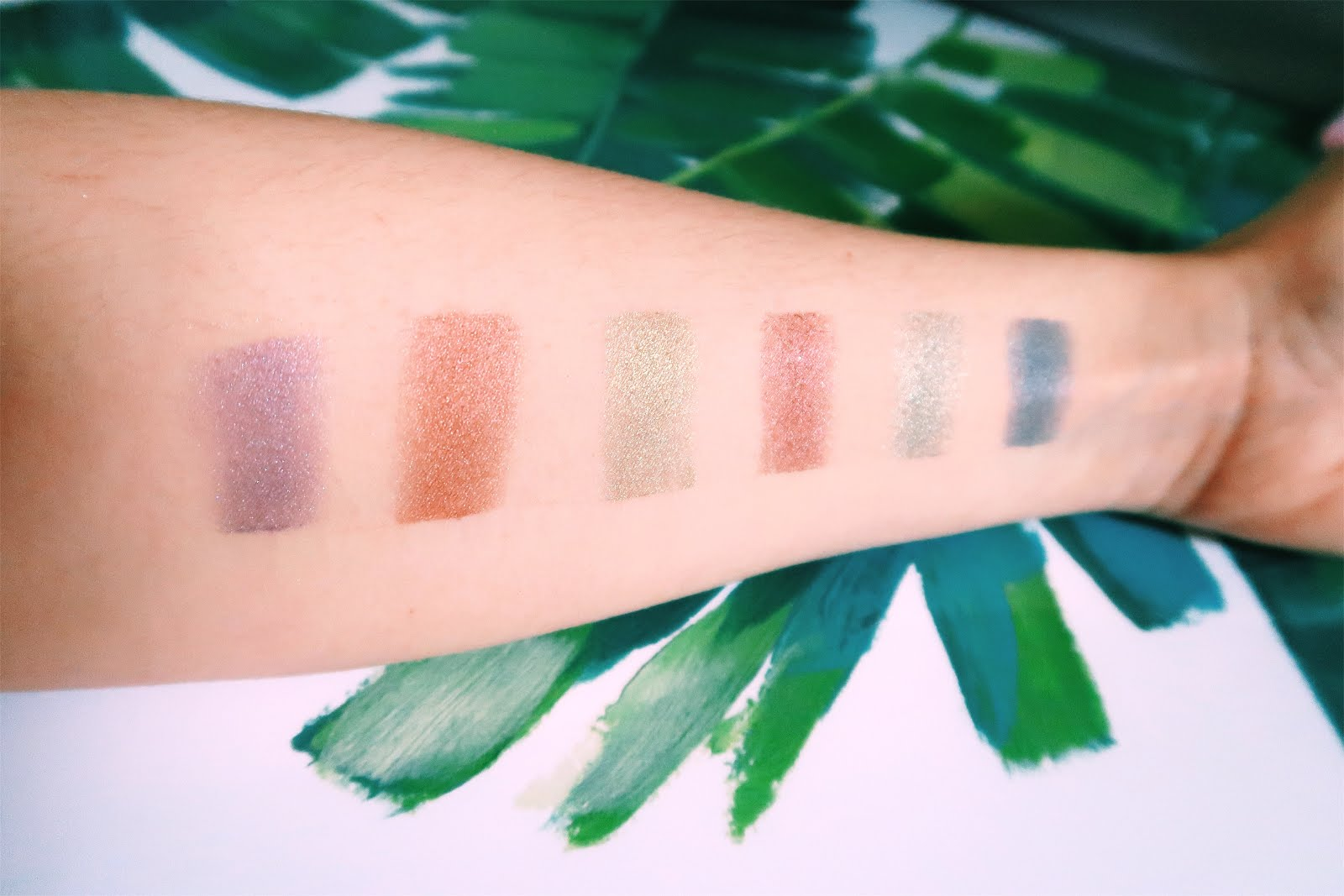 Swatches of Trends Celestial eyeshadow palette by Revolution Makeup