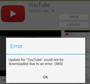 "Update for ""YouTube"" could not be downloaded due to an error (489)"