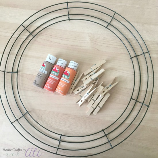 wreath materials used paint clothespins wire wreath frame