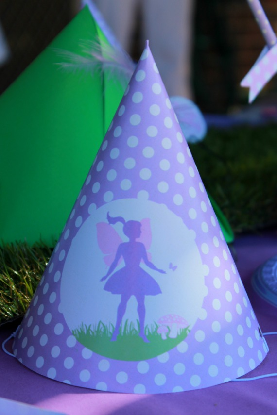 fairy party hat, purple, mauve, polka dots, diy, printable, party supplies, fairy birthday