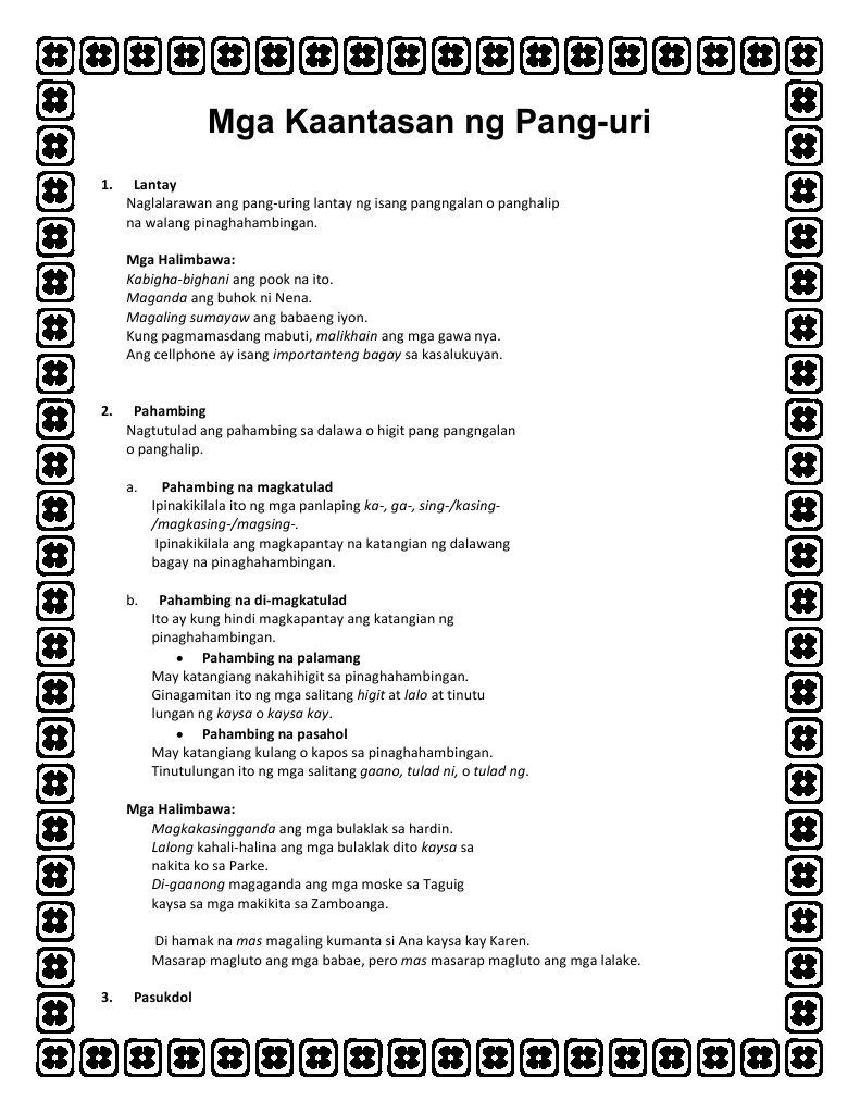 Pang- Uri Worksheets Related Keywords & Suggestions - Pang- Uri ...