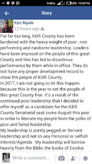 Hon Kennedy Nyale posting about ODM leaders planning to rig Nomination elections. PHOTO courtesy