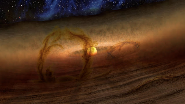 Artist's impression of the Loops of Gas and Dust Rise from Planetary Disks
