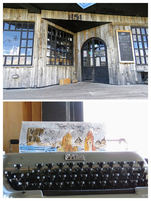 Collage of the exterior of The Coffee Maker and a typewriter art project in Puerto Natales Chile