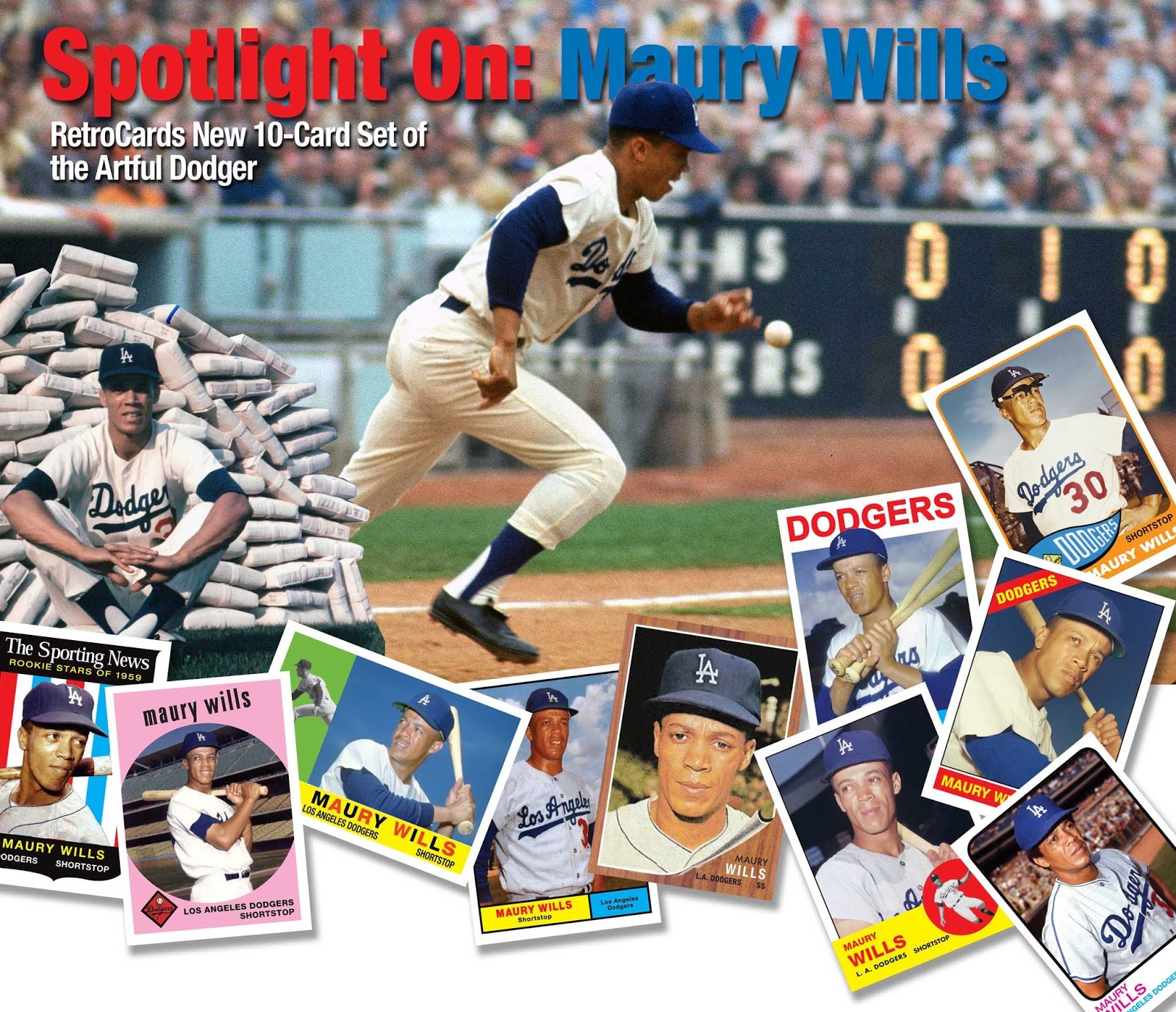 Custom Sports Cards By Retrocards Maury Wills The Artful Dodger