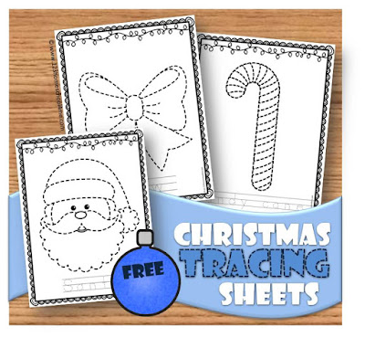 Christmas tracing sheets - santa, candy cane, snowman preschool Christmas worksheets