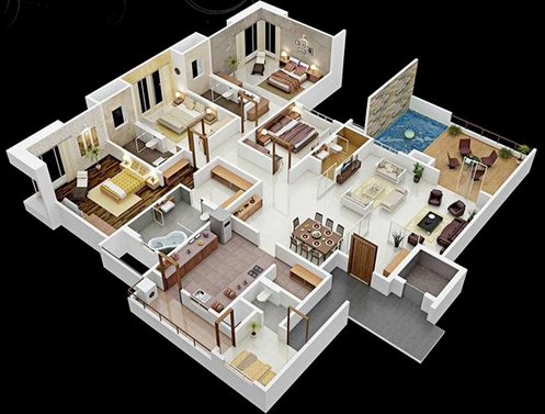 Tips Dan Contoh Denah Rumah Minimalis 3d 4 Kamar Dengan Biaya Murah