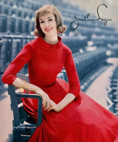 Model in red Jonathan Logan dress designed by Jeanne Carr 1957