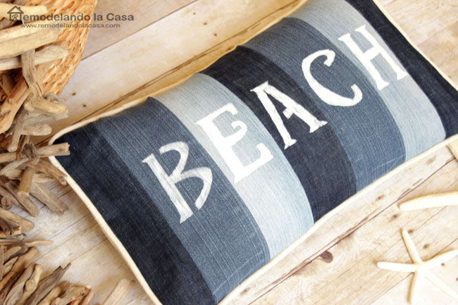 Beach pillow made out of old jeans
