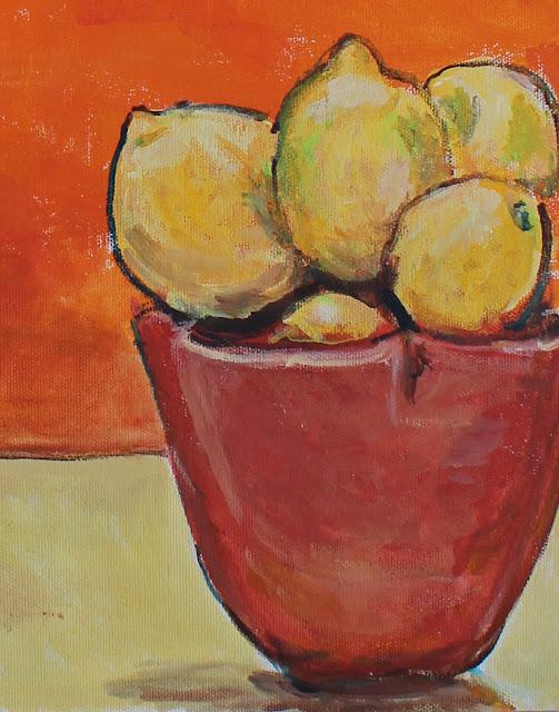 painting, sculpture, still-life, fruit, lemons, orange, red, vivid, intense, face, head, ceramics, terracotta, kunst, arte, art, pintura, modern, contemporary, acryllic, canvas, paint, summer, yellow, decor, deco, interior, design, artwork, sarah, myers, artist, detail, close-up, pottery, vessel, ceramic, amy myers, brushwork