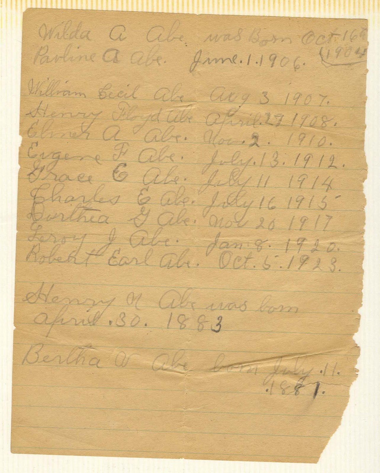Abe Family Heritage Records: October 2011