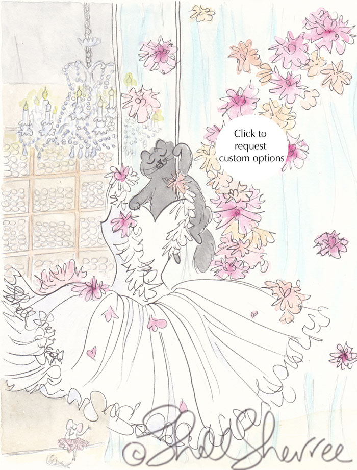Ella Black Cat White Tutu in Repetto Paris illustration  © Shell Sherree all rights reserved
