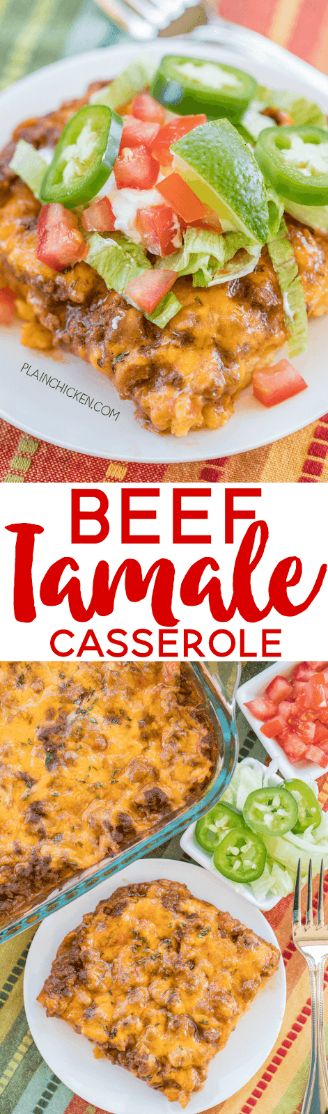 Beef Tamale Casserole - sweet cornbread crust topped with seasoned beef, enchilada sauce and cheese. A real crowd pleaser! Everyone always cleans their plate!! Such an easy Mexican casserole recipe!!! Jiffy Mix, eggs, milk, creamed corn, hamburger meat, taco seasoning, enchilada sauce and cheddar cheese. Make it tonight! You won't be disappointed!