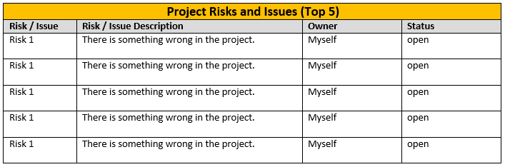 One page project status report template a weekly status for Risk mitigation report template