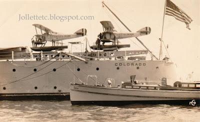 Ray Rucker's photo of seaplane on USS Colorado 1920s https://jollettetc.blogspot.com