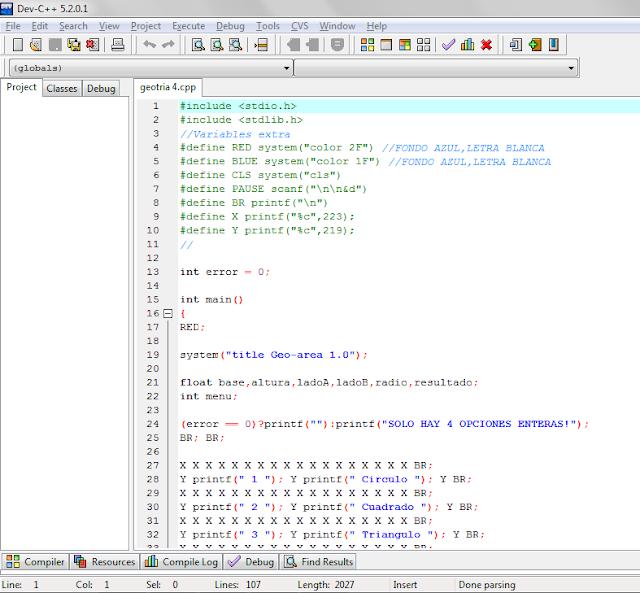 Proyecto sencillo en c forms dev c online