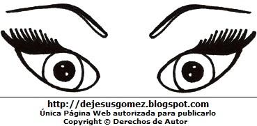 Ojos con pestañas largas para colorear o pintar. Dibujo de ojos hecho por Jesus Gómez