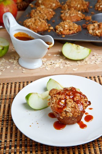 Apple Cheesecake Muffins with Streusel Topping and Caramel Sauce