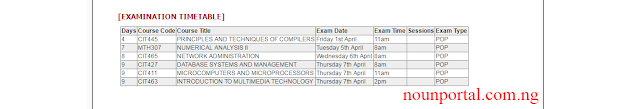 see noun examination timetable