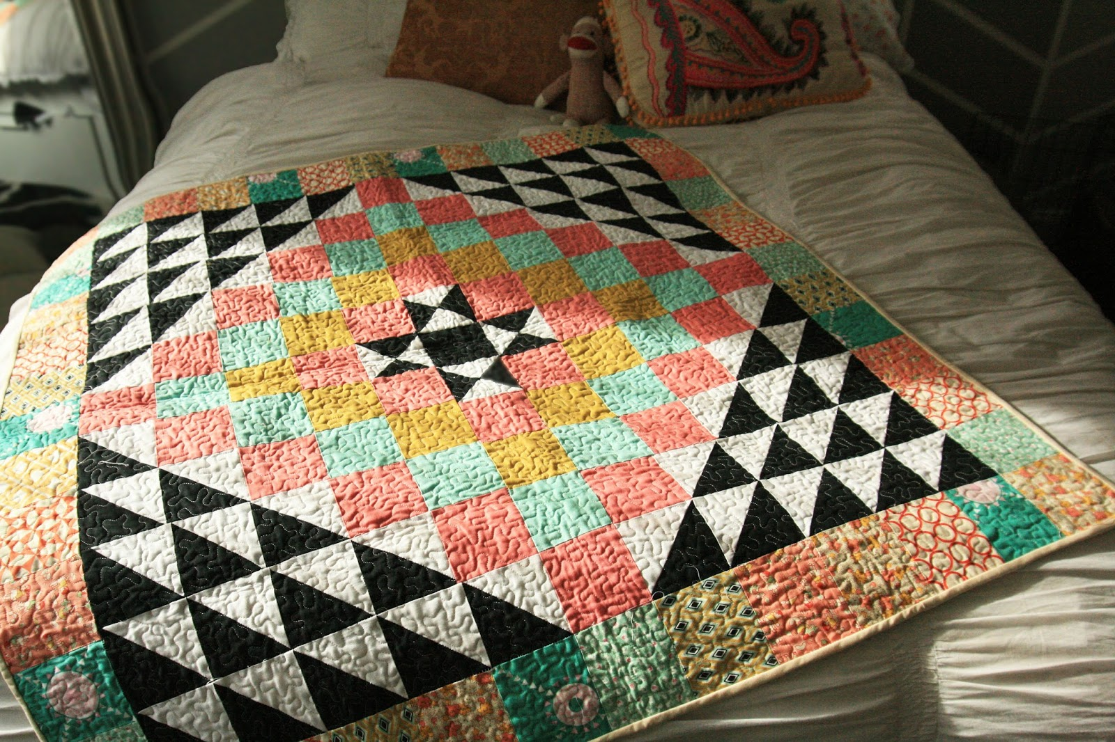 Girls Pearls Powder Geometric Baby Quilt Pattern